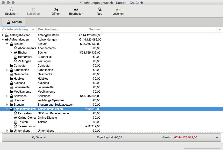 Screenshot 1 - GnuCash (Mac)