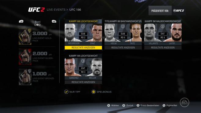 EA Sports UFC 2: Live-Wetten©EA