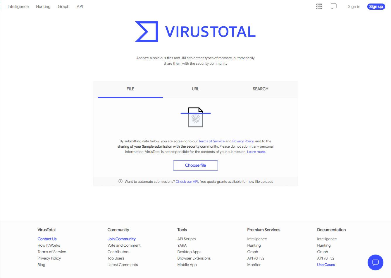 Screenshot 1 - VirusTotal