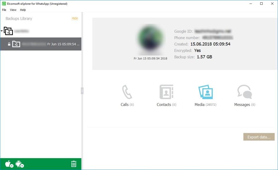 Screenshot 1 - Elcomsoft Explorer for WhatsApp