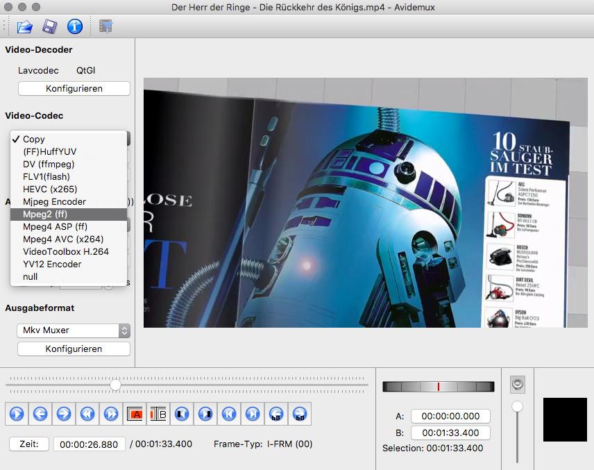Screenshot 1 - Avidemux (Mac)