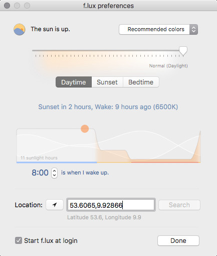 Screenshot 1 - F.lux (Mac)