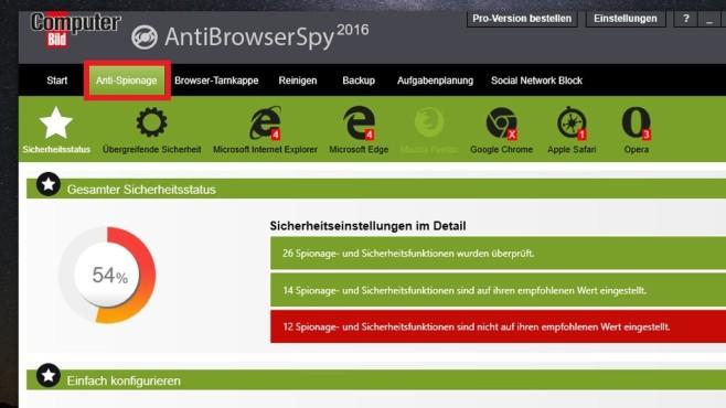 Platz 27: AntiBrowserSpy 2016 (COMPUTER BILD-Edition, neu) ©COMPUTER BILD