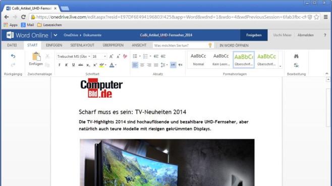 Platz 36: Microsoft Word Online (neu) ©COMPUTER BILD