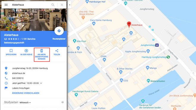 Google Maps: Adresse an Handy senden © Google