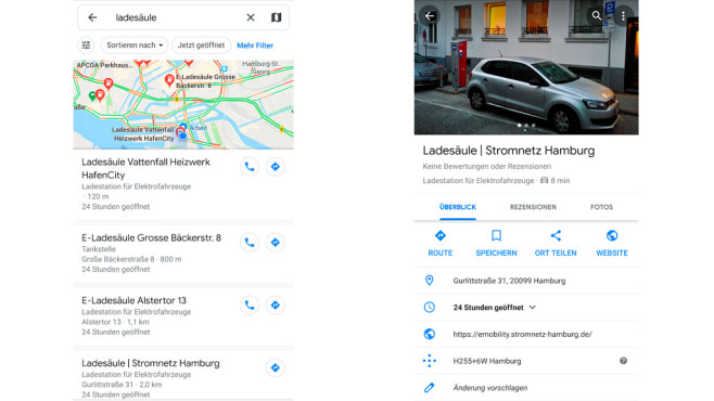 Google Maps: E-Ladesäulen suchen ©COMPUTER BILD