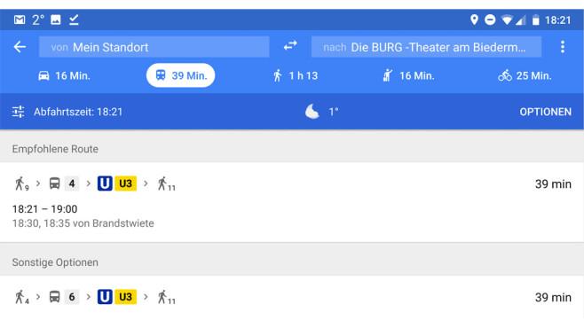 Google Maps: Mit öffentlichen Verkehrsmitteln fahren ©Google