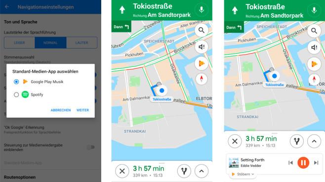 Google Maps: Musik hören und navigieren ©COMPUTER BILD