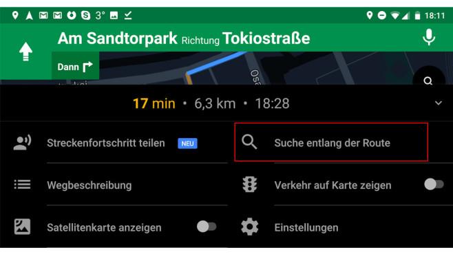 Google Maps: POIs auf der Strecke ©Google