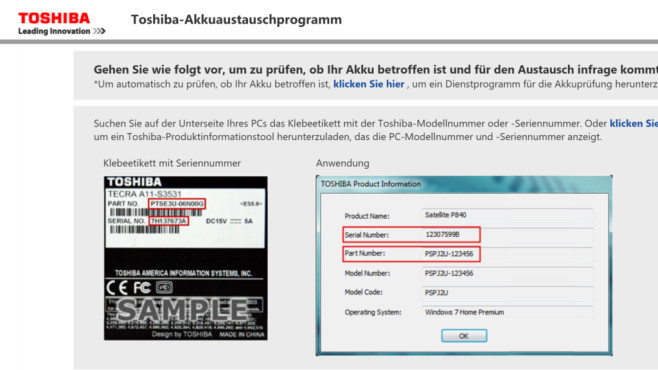Toshiba-Austauschprogramm©Toshiba/Screenshot