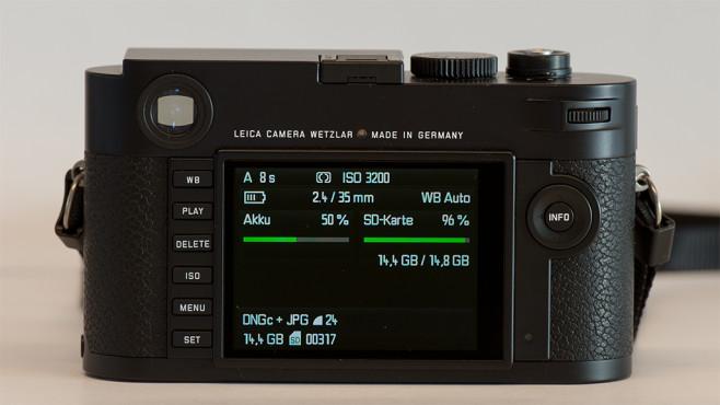 Info-Menü der Leica M (Typ 262)©COMPUTER BILD