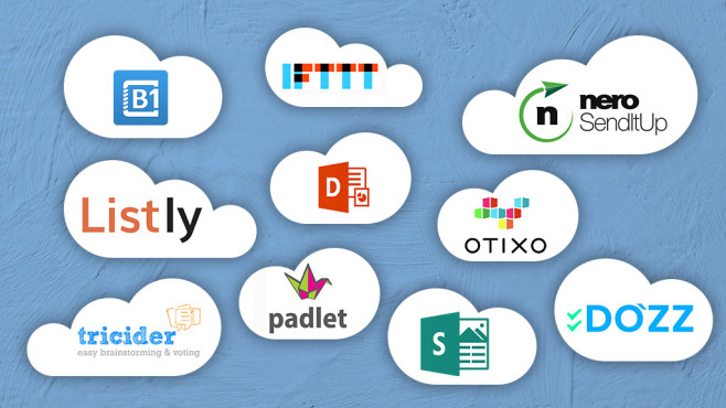 10 geniale Cloud-Dienste © Microsoft, Otixo Inc., IFTTT, Tricider, Listly, Nero, Do'zz, Padlet, Catalina Group,
