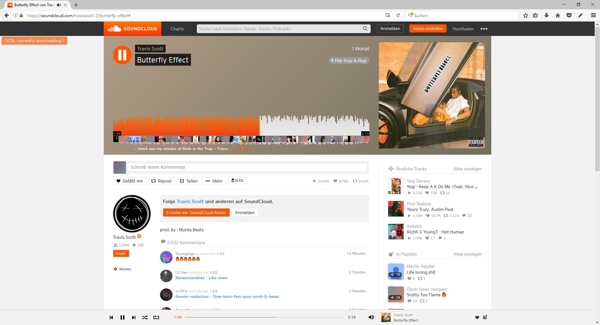 Screenshot 1 - SCDL SoundCloud Downloader für Firefox