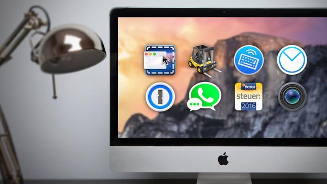 Kauf-Apps für Mac©Apple, ©istock.com/Pleasureofart, Cinch, Forklift, 1Keyboard, AirMail, 1Password, App for WhatsApp, WISO, Screenium