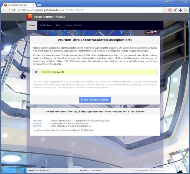 Screenshot 1 - HPI Identity Leak Checker