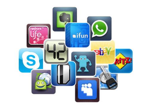 Smartphone-Apps ©Skype, James Thomson, iFun, stoeger it GmbH, Agile Web Solutions Inc., AVM, WhatsApp Inc., Access Co, LTD, Evernote Corp, Myspace, Swiss Codemonkeys, PostUPp