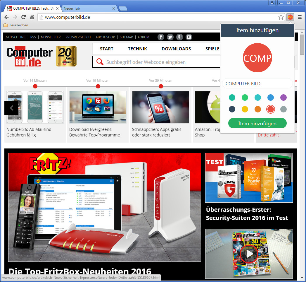 Screenshot 1 - Infinity New Tab für Chrome