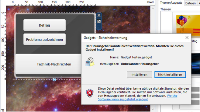 Gadget-Datei erzeugen (1) ©COMPUTER BILD