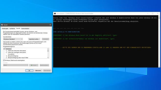 COMPUTER BILD-Windows-Start-Sound-Enabler: Bootsound aktivieren ©COMPUTER BILD