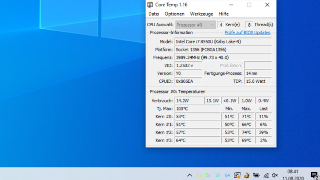 Core Temp: Prozessor-Temperatur anzeigen ©COMPUTER BILD