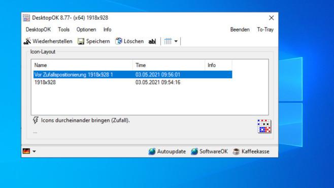 DesktopOK: Desktopsymbole sichern ©COMPUTER BILD