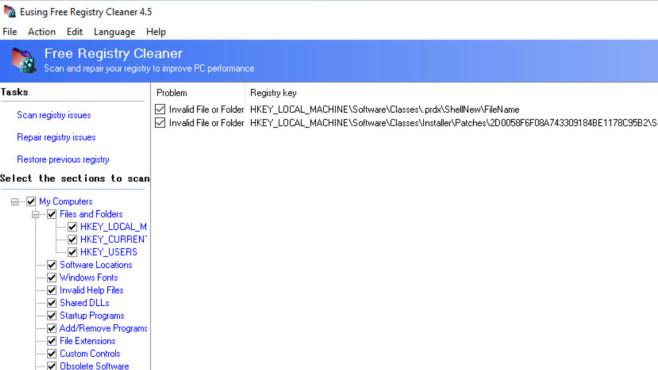 Eusing Free Registry Cleaner: Registrierungs-Datenbank aufräumen ©COMPUTER BILD