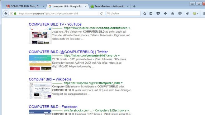 SearchPreview für Firefox: Thumbnails für Google & Co. ©COMPUTER BILD
