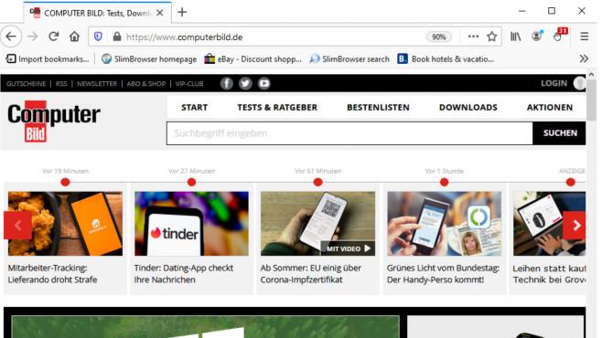 SlimBrowser: Gecko-Engine-basierter Firefox-Klon ©COMPUTER BILD