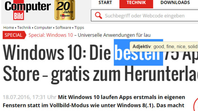 TransOver für Chrome: Wörter im Web übersetzen ©COMPUTER BILD