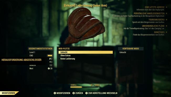 Fallout 76: Closed-Beta, Perks, Trailer, Release-Termin – neue Infos An Handwerksbänken verbessern Sie die Eigenschaften der Ausrüstung.©Bethesda