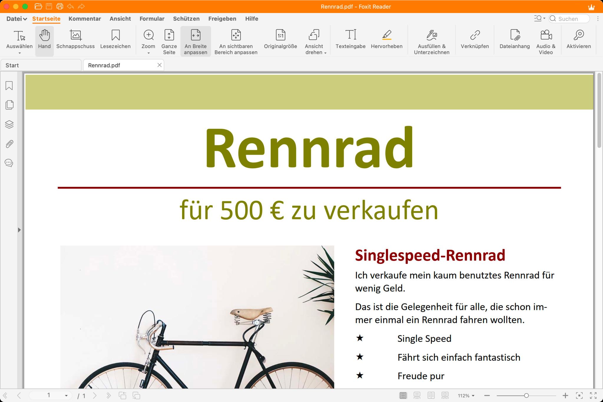 Screenshot 1 - Foxit PDF Reader (Mac)