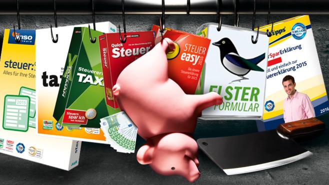 Steuererklärung 2016©Getty Images, Buhl, Akademische Arbeitsgemeinschaft, Lexware, Elster/Bayerisches Landesamt für Steuern, Montage: COMPUTER BILD