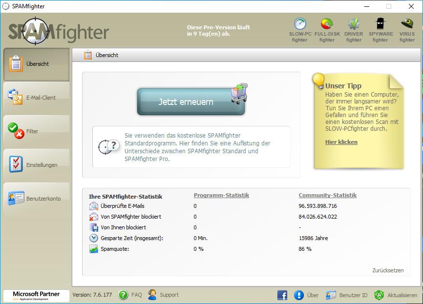 Screenshot 1 - Spamfighter