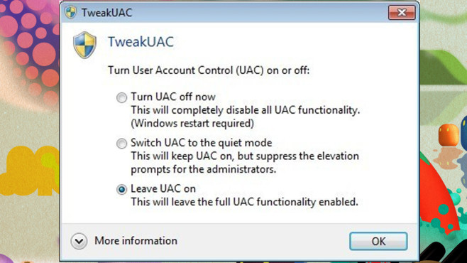 TweakUAC: Benutzerkonten-Steuerung scharfstellen ©COMPUTER BILD