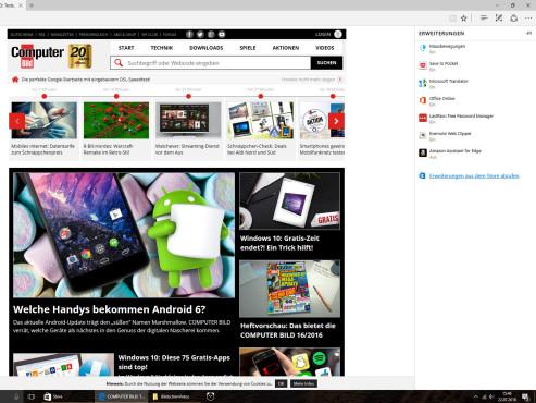 Edge-Erweiterungen aus dem Browser heraus abrufen ©COMPUTER BILD