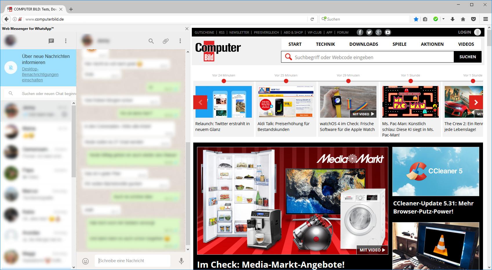 Screenshot 1 - WhatsApp-Web-Messenger für Firefox
