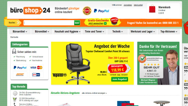 Screenshot bueroshop24.de © COMPUTER BILD