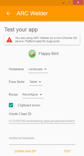ARC Welder (App-Runtime für Chrome)