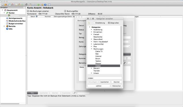 Screenshot 1 - Money Manager Ex (Mac)