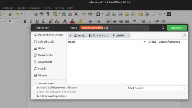 LibreOffice Writer: Dateiname beim Speichern oben einzutippen ©COMPUTER BILD