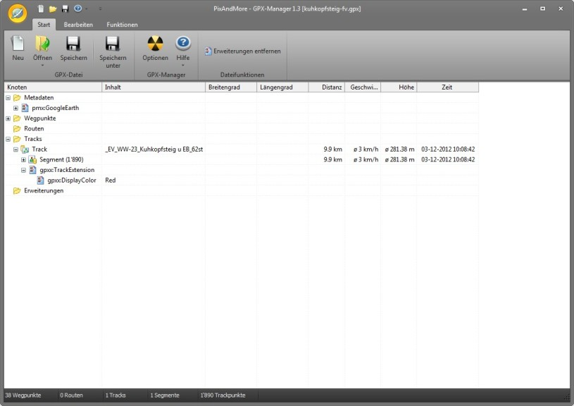 Screenshot 1 - GPX-Manager