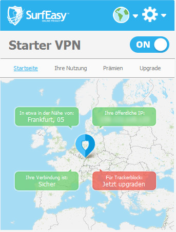 Screenshot 1 - SurfEasy VPN