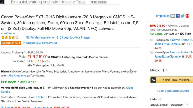 Beispiel für Amazon-Protect-Angebot©COMPUTER BILD