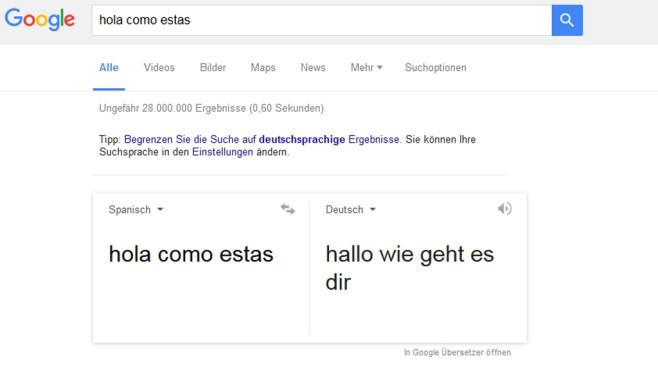Automatische Google-Übersetzung©Screenshot Google