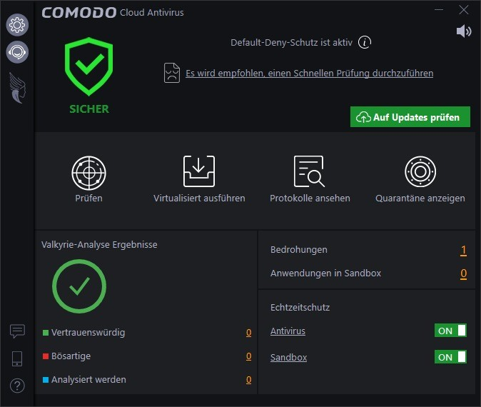 Screenshot 1 - Comodo Cloud Antivirus