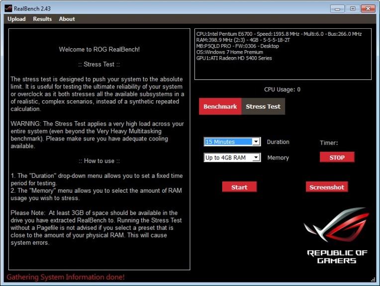 Screenshot 1 - Asus RealBench