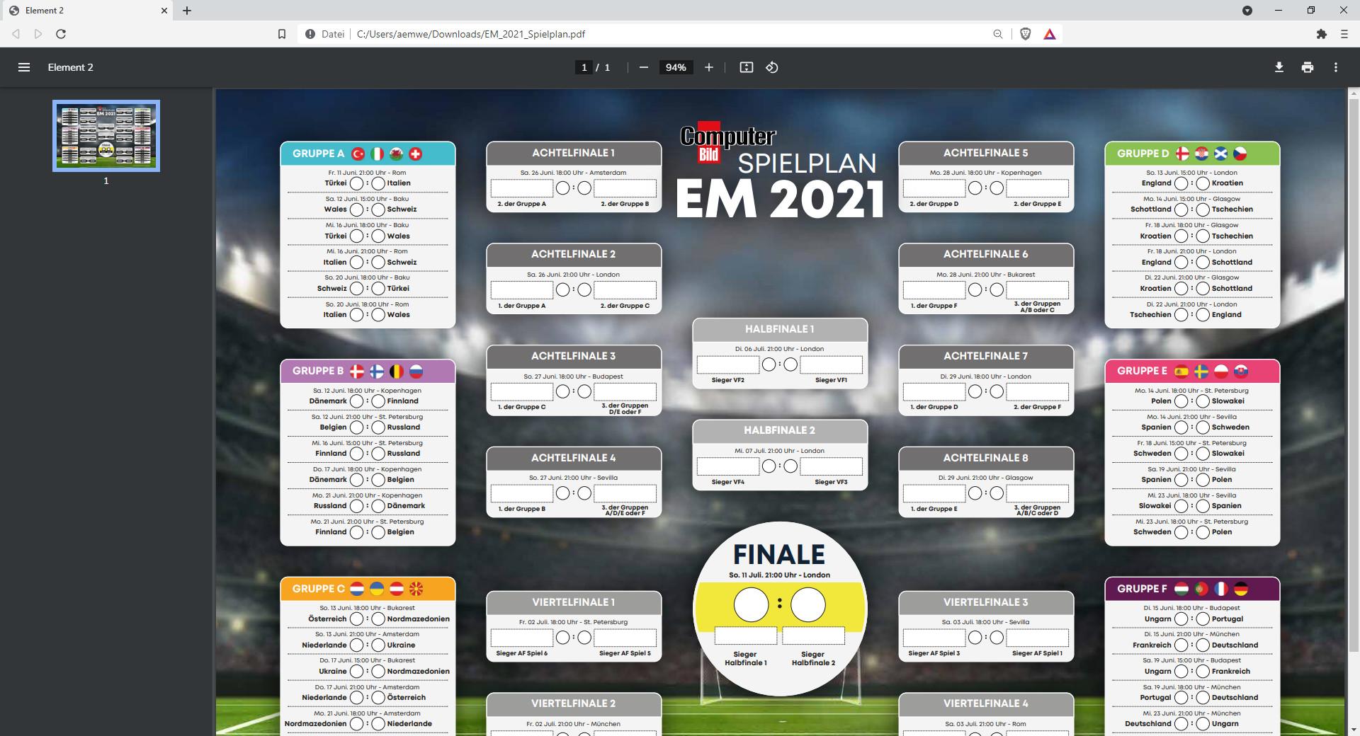Screenshot 1 - EM 2021: Spielplan als PDF zum Ausdrucken