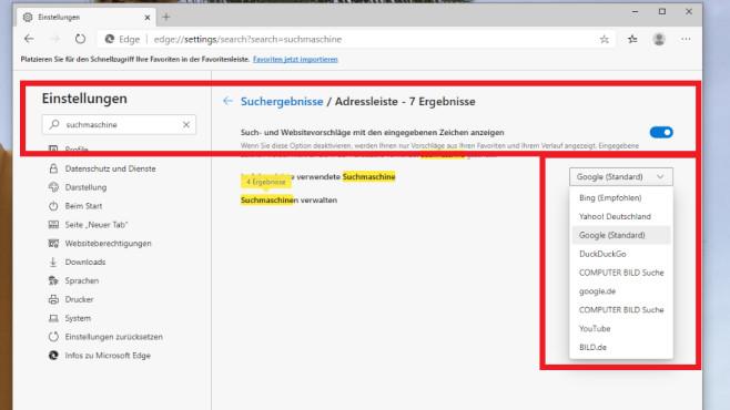 Adressleiste: Bing auf Google umstellen ©COMPUTER BILD