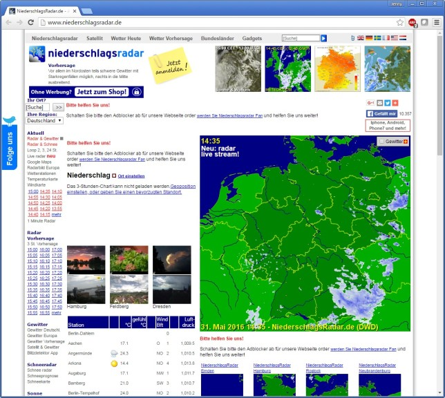 Screenshot 1 - Niederschlagsradar Deutschland