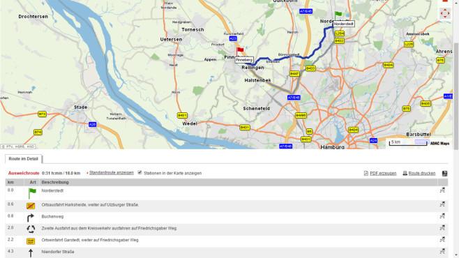 ADAC Maps: Vielfältig einstellbarer Dienst und PDF-Backup ©COMPUTER BILD